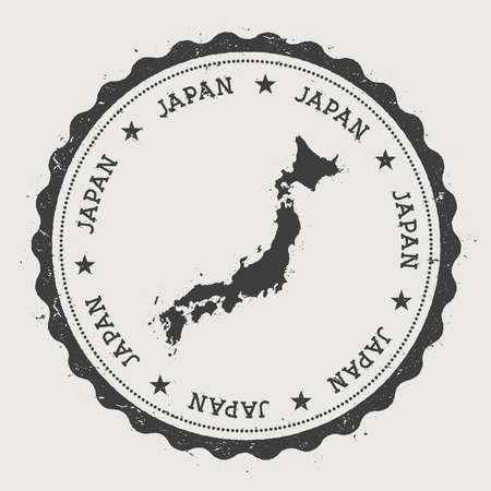 Japan hipster round rubber stamp with country map. Vintage passport stamp with circular text and stars, vector illustration. Vectores