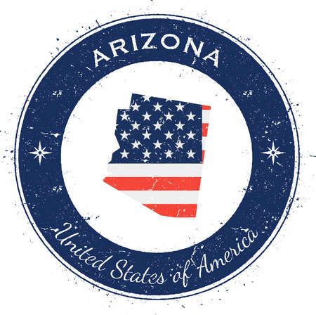 Arizona circular patriotic badge. Grunge rubber stamp with USA state flag, map and the Arizona written along circle border, vector illustration.