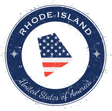 Rhode Island circular patriotic badge. Grunge rubber stamp with USA state flag, map and the Rhode Island written along circle border, vector illustration.