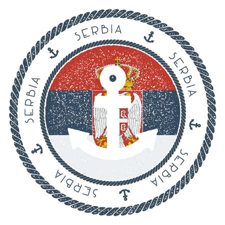 Nautical Travel Stamp with Serbia Flag and Anchor. Marine rubber stamp, with round rope border and anchor symbol on flag background.