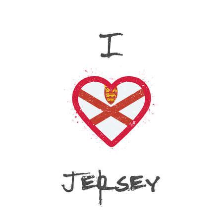 I love Jersey t-shirt design. Channel Islander flag in the shape of heart on white background. Grunge vector illustration.