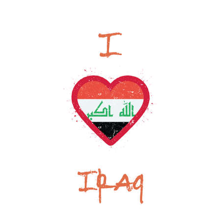 I love Iraq t-shirt design. Iraqi flag in the shape of heart on white background. Grunge vector illustration.