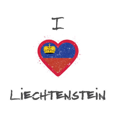 I love Liechtenstein t-shirt design. Liechtensteiner flag in the shape of heart on white background. Grunge vector illustration.
