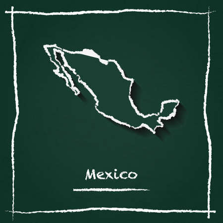 Mexico outline vector map hand drawn with chalk on a green blackboard. Chalkboard scribble in childish style. White chalk texture on green background.
