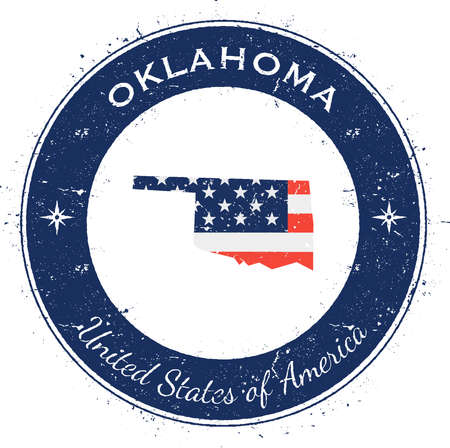 Oklahoma circular patriotic badge. Grunge rubber stamp with USA state flag, map and the Oklahoma written along circle border, vector illustration.
