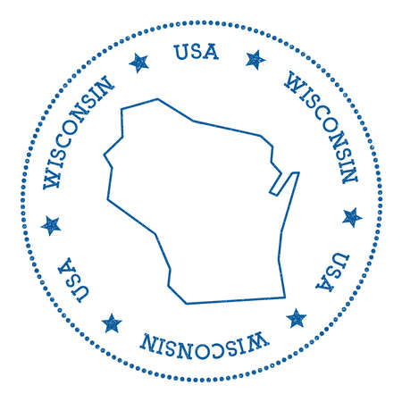 Wisconsin Vector Map Sticker. Hipster And Retro Style Badge With ...