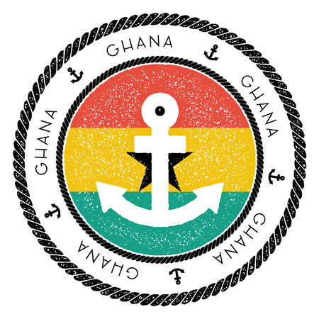 Nautical Travel Stamp with Ghana Flag and Anchor. Marine rubber stamp, with round rope border and anchor symbol on flag background. Illustration