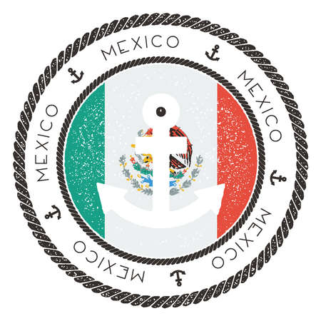 Nautical Travel Stamp with Mexico Flag and Anchor. Marine rubber stamp, with round rope border and anchor symbol on flag background.