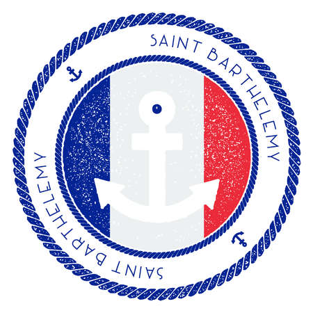 Nautical Travel Stamp with Saint Barthelemy Flag and Anchor. Marine rubber stamp, with round rope border and anchor symbol on flag background. Illustration