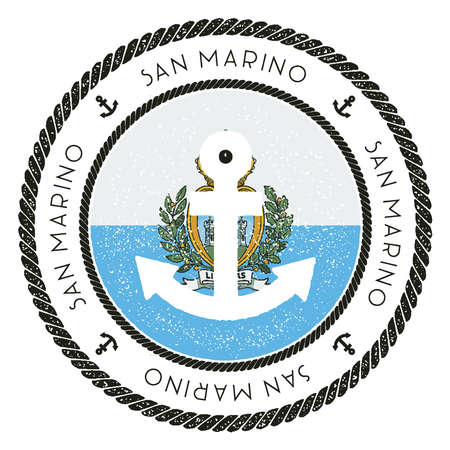 Nautical Travel Stamp with San Marino Flag and Anchor. Marine rubber stamp, with round rope border and anchor symbol on flag background.