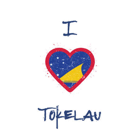 I love Tokelau t-shirt design. Tokelauan flag in the shape of heart on white background. Grunge vector illustration.