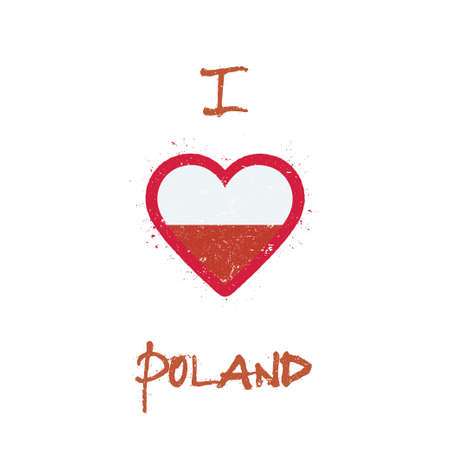 I love Poland t-shirt design. Polish flag in the shape of heart on white background. Grunge vector illustration.