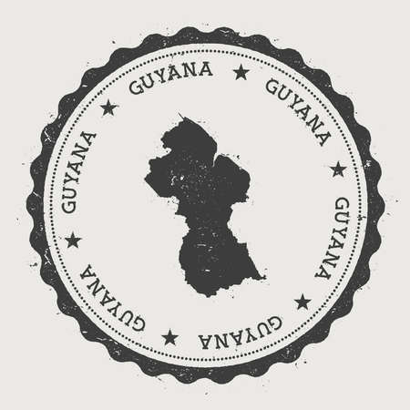 Guyana hipster round rubber stamp with country map. Vintage passport stamp with circular text and stars, vector illustration.