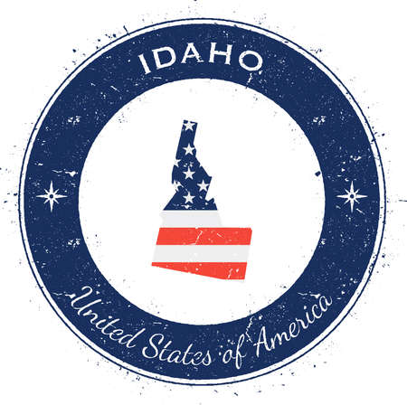 Idaho circular patriotic badge. Grunge rubber stamp with USA state flag, map and the Idaho written along circle border, vector illustration. Illustration