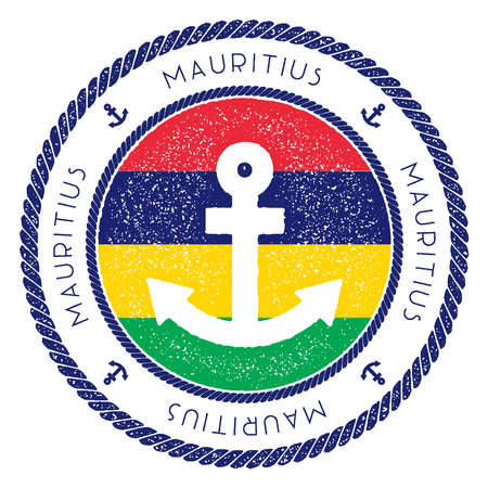 Nautical Travel Stamp with Mauritius Flag and Anchor. Marine rubber stamp, with round rope border and anchor symbol on flag background. Vector illustration.