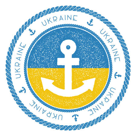 Nautical Travel Stamp with Ukraine Flag and Anchor. Marine rubber stamp, with round rope border and anchor symbol on flag background. Vector illustration.