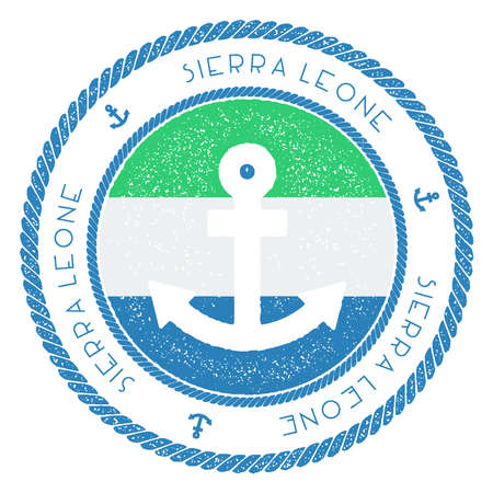 Nautical Travel Stamp with Sierra Leone Flag and Anchor. Marine rubber stamp, with round rope border and anchor symbol on flag background. Vector illustration.