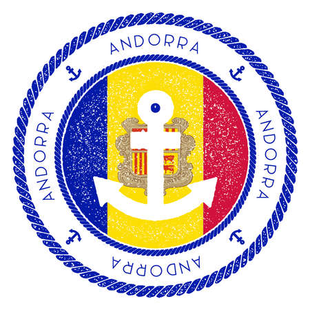 Nautical travel stamp with Andorra flag and anchor. Marine rubber stamp, with round rope border and anchor symbol on flag background. Vector illustration.