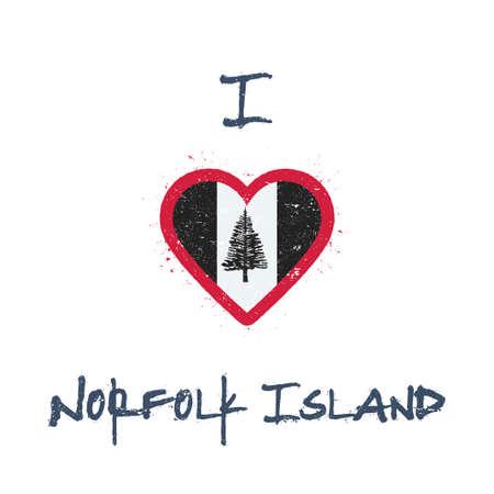 I love Norfolk Island t-shirt design. Norfolk Islander flag in the shape of heart on white background. Grunge vector illustration.