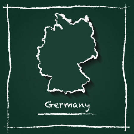 Germany outline vector map hand drawn with chalk on a green blackboard. Chalkboard scribble in childish style. White chalk texture on green background.