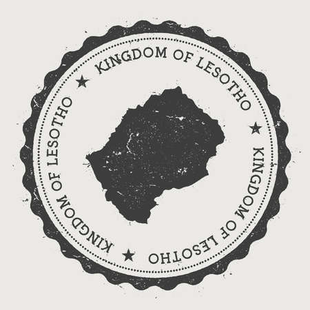 Lesotho hipster round rubber stamp with country map. Vintage passport stamp with circular text and stars, vector illustration.