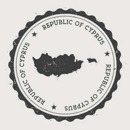 キプロスヒップスターラウンドゴムスタンプと国の地図。円形のテキストと星、ベクトルイラストを持つヴィンテージパスポートスタンプ。