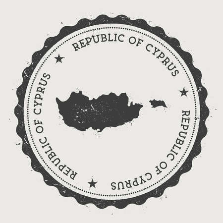 Cyprus hipster round rubber stamp with country map. Vintage passport stamp with circular text and stars, vector illustration.
