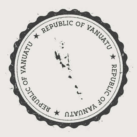 Vanuatu hipster round rubber stamp with country map. Vintage passport stamp with circular text and stars, vector illustration.