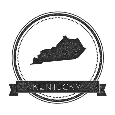 Kentucky vector map stamp. Retro distressed insignia with US state map. Hipster round rubber stamp with Kentucky state text banner, USA state map vector illustration. Illustration