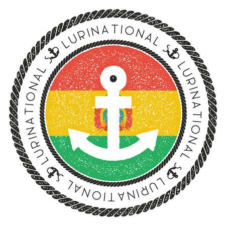 Sello náutico del viaje con la bandera y el ancla de Bolivia. Sello de goma marino, con el borde de la cuerda redonda y el símbolo de anclaje en el fondo de la bandera. Ilustración vectorial