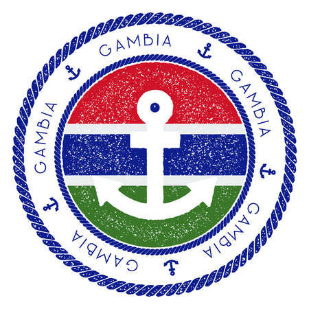 Nautical Travel Stamp with Gambia Flag and Anchor. Marine rubber stamp, with round rope border and anchor symbol on flag background. Vector illustration.