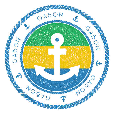 Nautical Travel Stamp with Gabon Flag and Anchor. Marine rubber stamp, with round rope border and anchor symbol on flag background. Vector illustration. Illustration