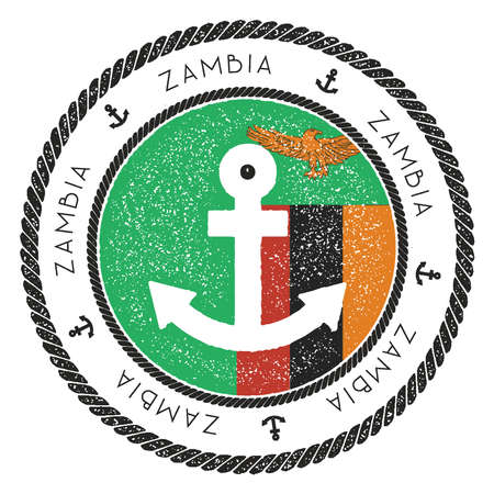 Nautical Travel Stamp with Zambia Flag and Anchor. Marine rubber stamp, with round rope border and anchor symbol on flag background. Vector illustration. Illustration