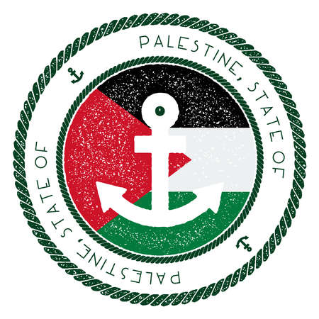 Nautical Travel Stamp with Palestine, State of Flag and Anchor. Marine rubber stamp, with round rope border and anchor symbol on flag background. Vector illustration.