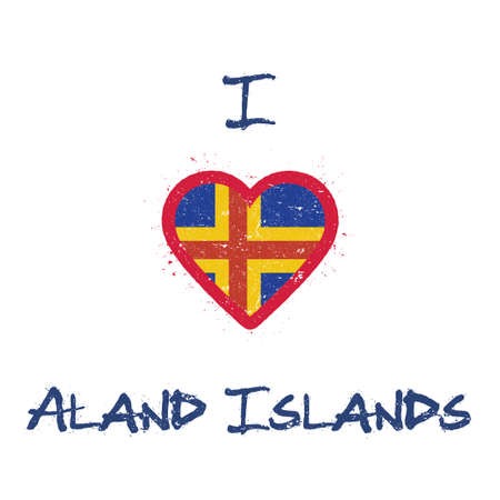 I love Aland Islands t-shirt design. Swedish flag in the shape of heart on white background. Grunge vector illustration.