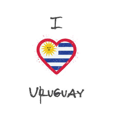 I love Uruguay t-shirt design. Uruguayan flag in the shape of heart on white background. Grunge vector illustration. 矢量图像