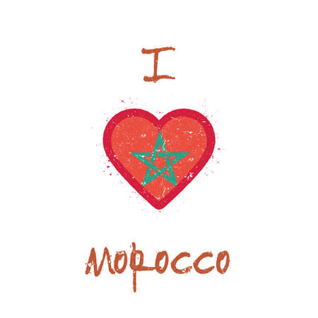 I love Morocco t-shirt design. Moroccan flag in the shape of heart on white background. Grunge vector illustration.