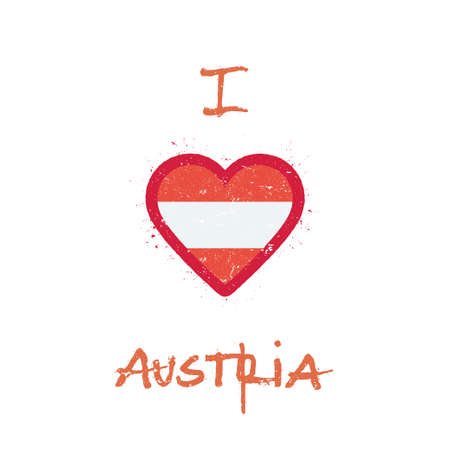I love Austria t-shirt design. Austrian flag in the shape of heart on white background. Grunge vector illustration. Illusztráció