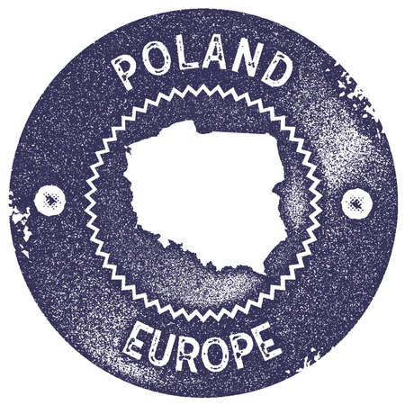 Poland map vintage stamp. Retro style handmade label, badge or element for travel souvenirs. Deep purple rubber stamp with country map silhouette. Vector illustration. Ilustrace
