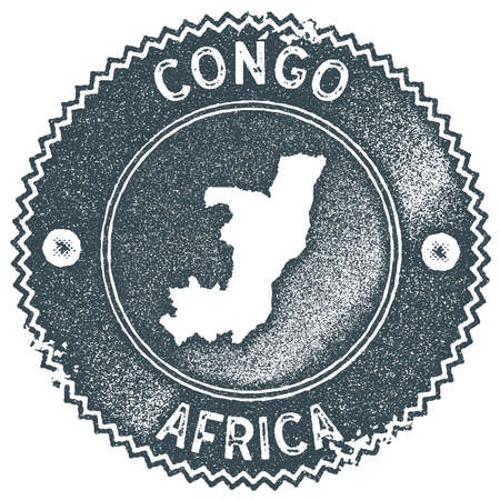 Congo map vintage stamp. Retro style handmade label, badge or element for travel souvenirs. Dark blue rubber stamp with country map silhouette. Vector illustration.