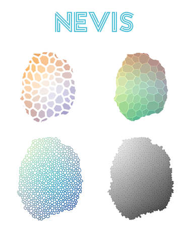 Nevis polygonal island map. Mosaic style maps collection. Bright abstract tessellation, geometric, low poly, modern design. Nevis polygonal maps for infographics or presentation. Illustration