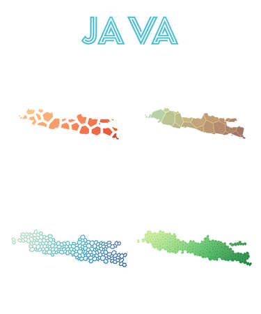 Java polygonal island map. Mosaic style maps collection. Bright abstract tessellation, geometric, low poly, modern design. Java polygonal maps for infographics or presentation.  イラスト・ベクター素材