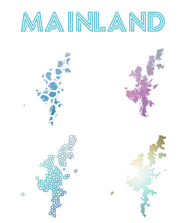 Mainland polygonal island map. Mosaic style maps collection. Bright abstract tessellation, geometric, low poly, modern design. Mainland polygonal maps for info-graphics or presentation.