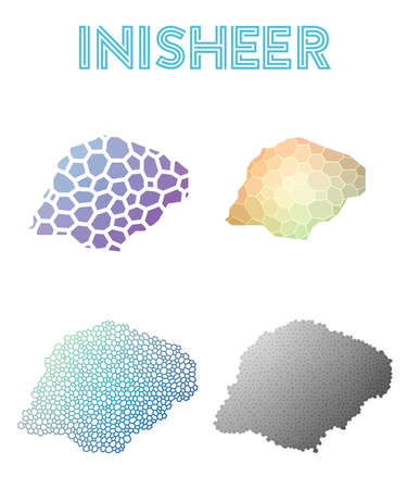 Inisheer polygonal island map. Mosaic style maps collection. Bright abstract tessellation, geometric, low poly, modern design. Inisheer polygonal maps for info-graphics or presentation.
