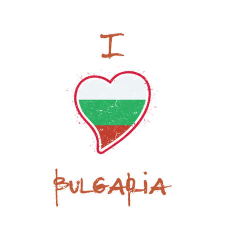 Bulgarian flag patriotic t-shirt design. Heart shaped national flag Bulgaria on white background. Vector illustration. 向量圖像