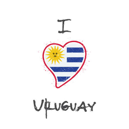 Uruguayan flag patriotic t-shirt design. Heart shaped national flag Oriental Republic of Uruguay on white background. Vector illustration.