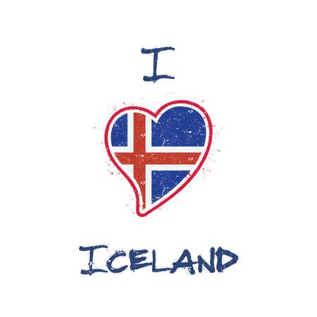 Icelander flag patriotic t-shirt design. Heart shaped national flag Iceland on white background. Vector illustration.