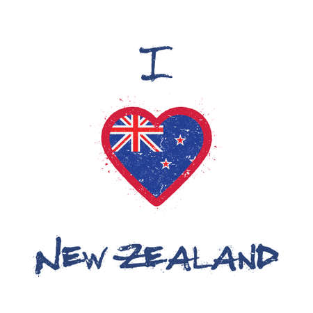 I love New Zealand t-shirt design. New Zealander flag in the shape of heart on white background. Grunge vector illustration.