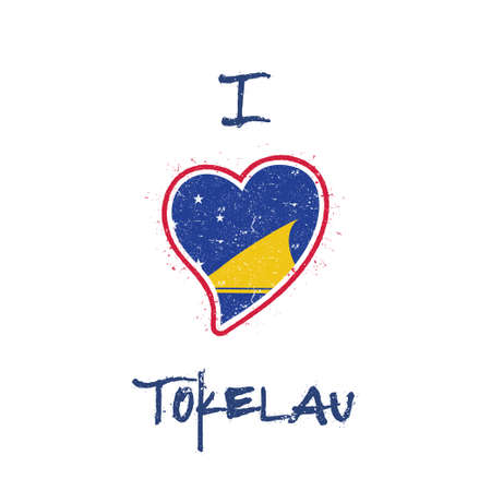 Tokelauan flag patriotic t-shirt design. Heart shaped national flag Tokelau on white background. Vector illustration.