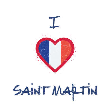 I love Saint Martin t-shirt design. Saint Martin Islander flag in the shape of heart on white background. Grunge vector illustration. Çizim